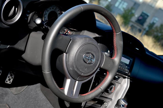 2013 scion fr s review interior steering wheel angle