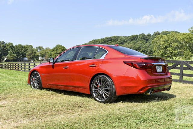 2018 Infiniti Q50 backside shot with the car angled to the left