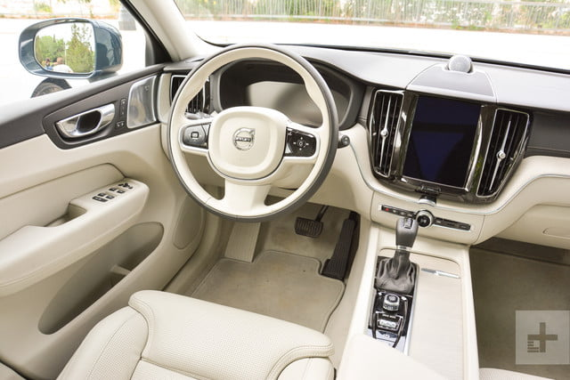 Back-seat view of the 2018 Volvo XC60's driver's seat.
