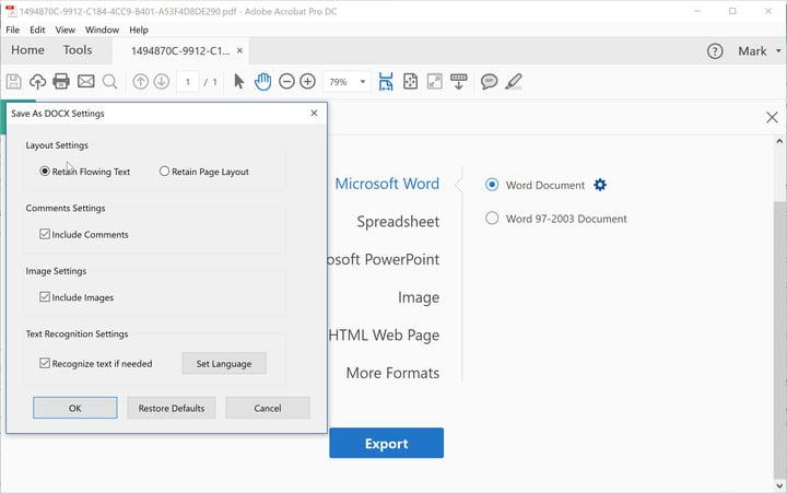 How to convert a PDF file into a Word document