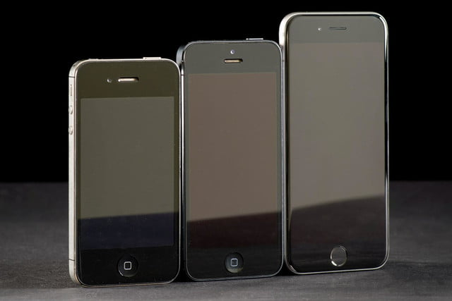 Apple iPhone 6, 5, 4 comparison front