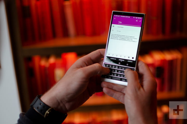 blackberry key2 typing email