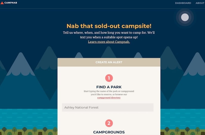 campnab camping website