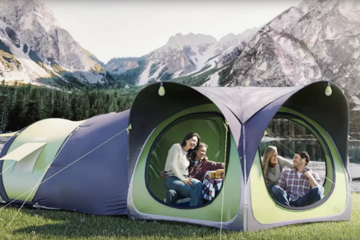 cinch smart pop up tent & Modular Cinch smart pop-up tent features solar power pack climate ...