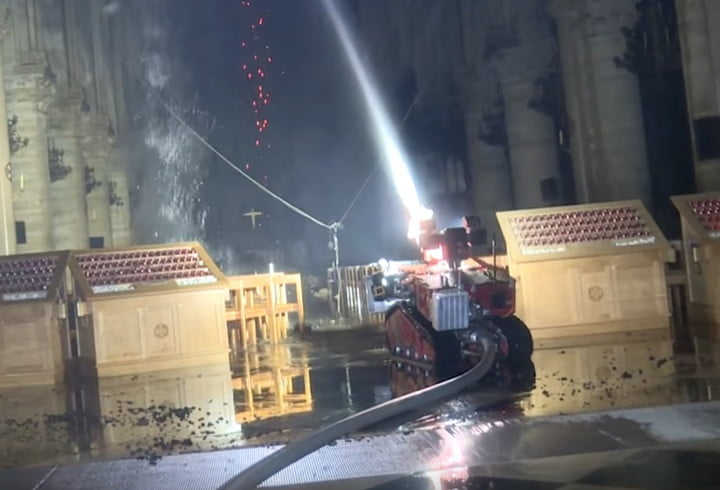 Notre-Dame: How drones and a robot called Colossus helped prevent worse damage