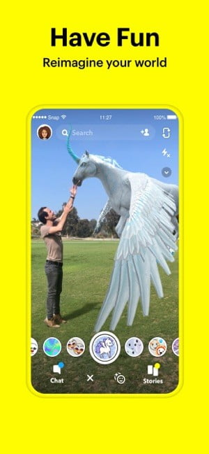 Screenshot of Have Fun feature in Snapchat app