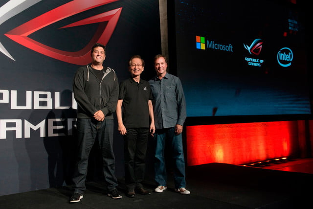 asus republic of gamers unleashed chairman jonney shih is joined on stage by microsoft executive vp terry myerson