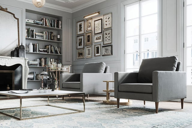 Campaign Furniture gray chairs