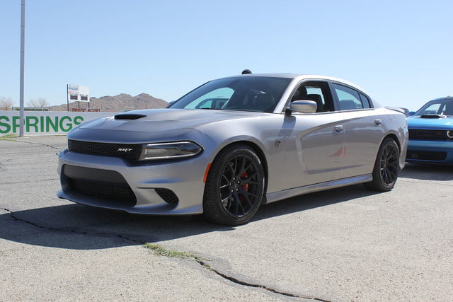 2015 dodge charger challenger srt hellcats track review and hellcat on silver angle