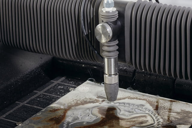wazer waterjet cutter kickstarter closeup cutting sprocket