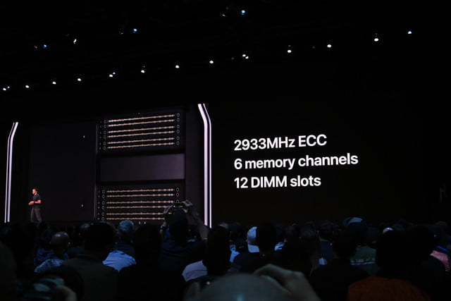 Screen at WWDC 2019 showing Mac Pro with audience watching.