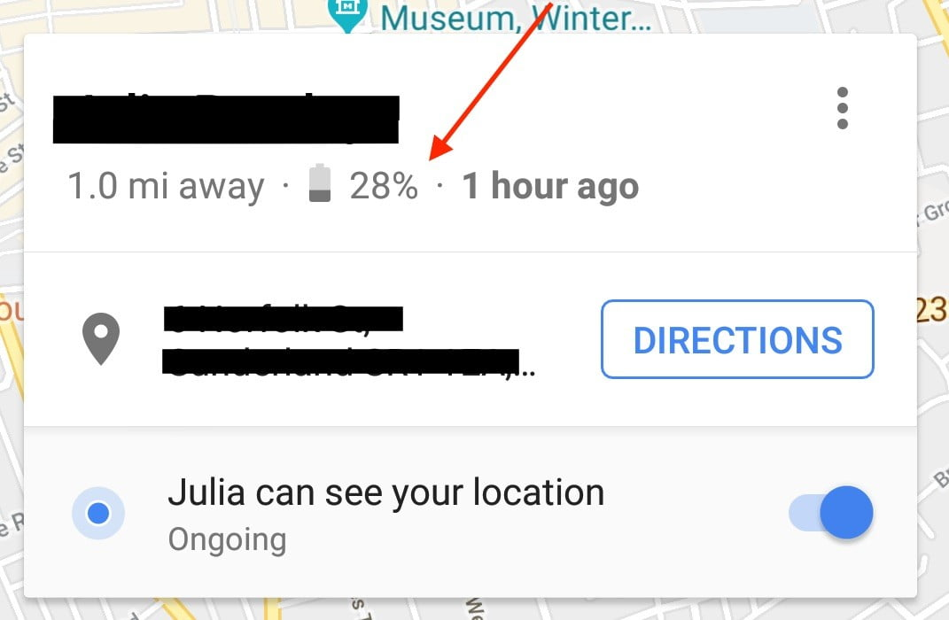 Google Maps Location Sharing Now Shows Your Battery Level ... on google latitude history view, google location pin, google location app, google address location, google location icon, my current location, find ip address location, google products, google maps history, google car location, marketing location, google maps icon, google location finder, google maps funny, google maps listing, google maps example, find current location, google compound, google my location, google marker,