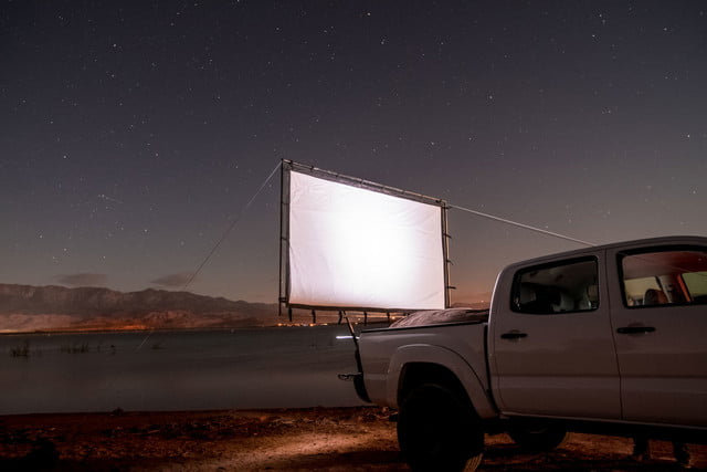 awesome tech you cant buy yet portal hitch theater biolite  car mounted drive in movie screen
