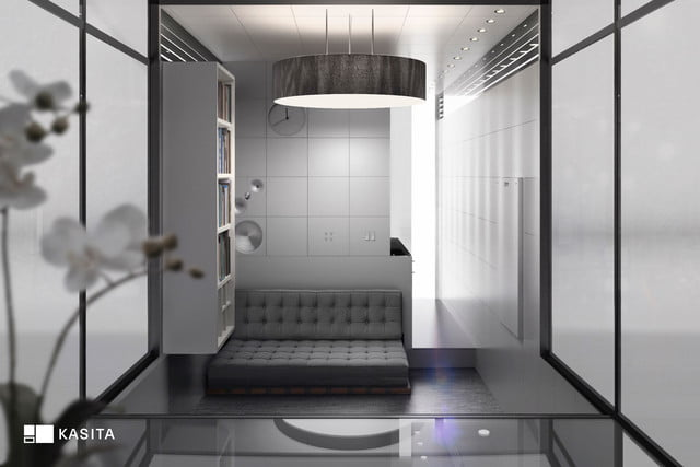 kasita is a tiny apartment that moves between cities interior view from glass cube bed slides out under couch
