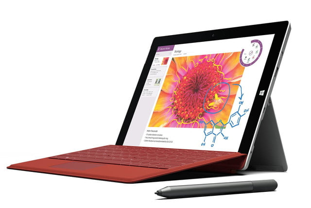 Microsoft Surface 3 red pen front angle