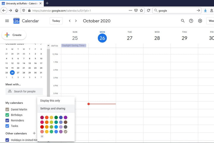 Image My Calendars Settings and Sharing Button