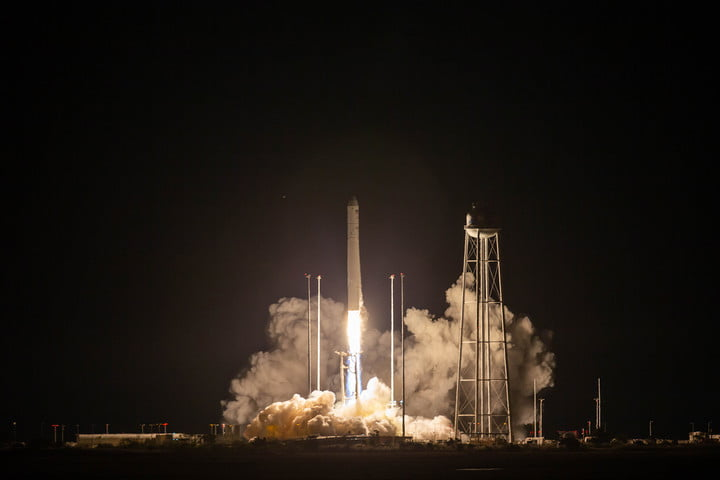 A Northrop Grumman Antares rocket launches to the International Space Station on Oct. 2, 2020, from NASA's Wallops Flight Facility, Wallops Island, Virginia. The rocket is carrying a Cygnus spacecraft with 8,000 pounds of supplies and experiments.