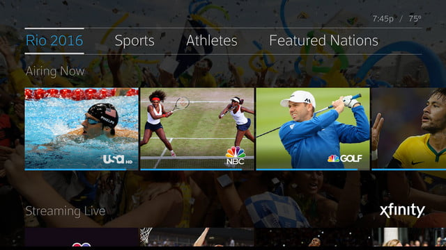 comcast x1 rio olympics 6000 hours internet streams broadcast hub page