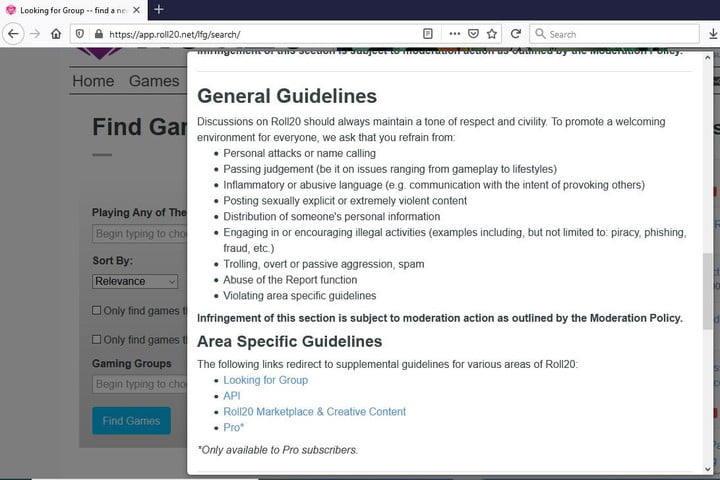 Picture of Roll20 Moderation and general guidelines