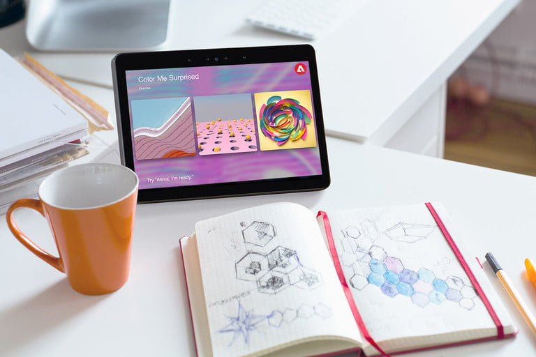 adobe inspiration engine launches side view modern office workplace with digital tablet  notepad colorful pencils computer in