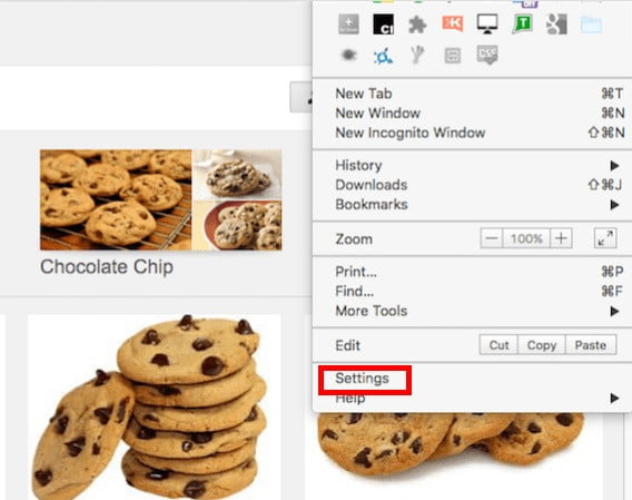 como eliminar cookies chrome settings