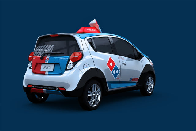 dominos innovative dxp chevrolet spark pizza delivery car 5