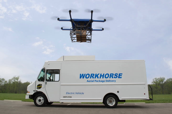 Workhorse E-Gen electric van and HorseFly drone