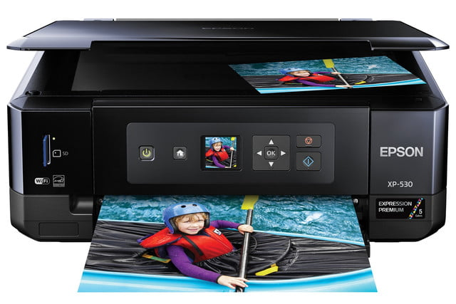 epsons updated expression home photo printers include wide format model epson xp 530 front view
