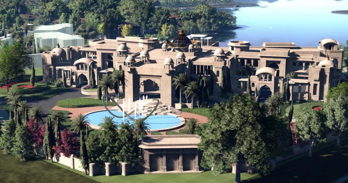 Kiran patel 39 s huge florida mansion is a modern day palace for Huge modern mansion
