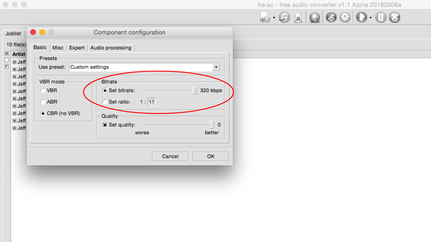 how to change bitrate of mp3