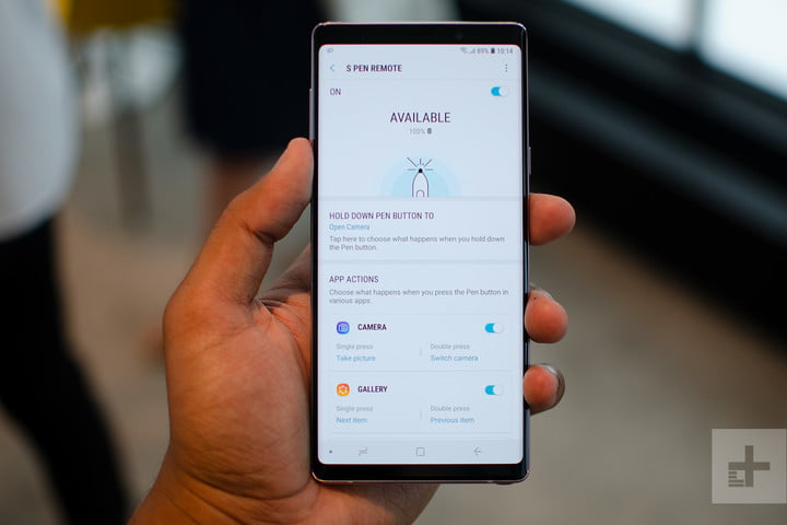 Galaxy Note 9 s pen remote settings