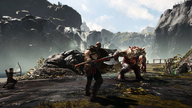 God of War Review | Kratos prepares to fight a large behemoth.