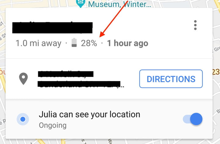 google maps lets you share your location and battery level screenshot