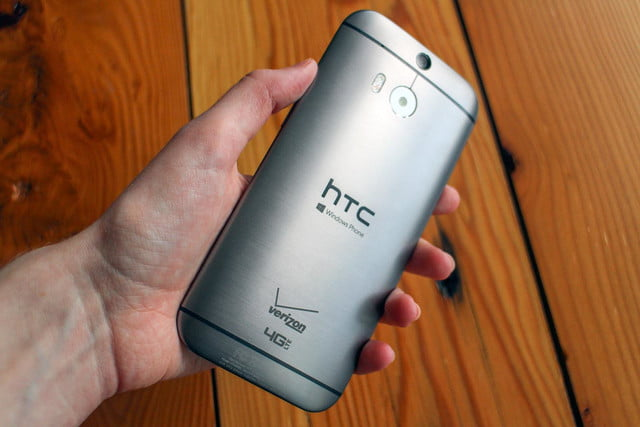 HTC One M8 w/ Windows hands on rear angled