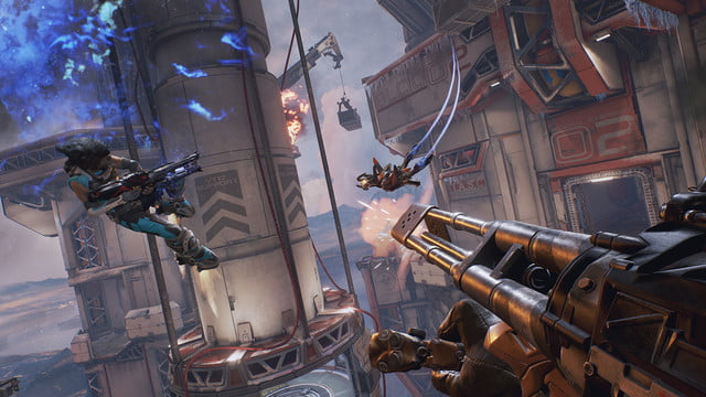 LawBreakers Review sky battle near a manufacturing sector