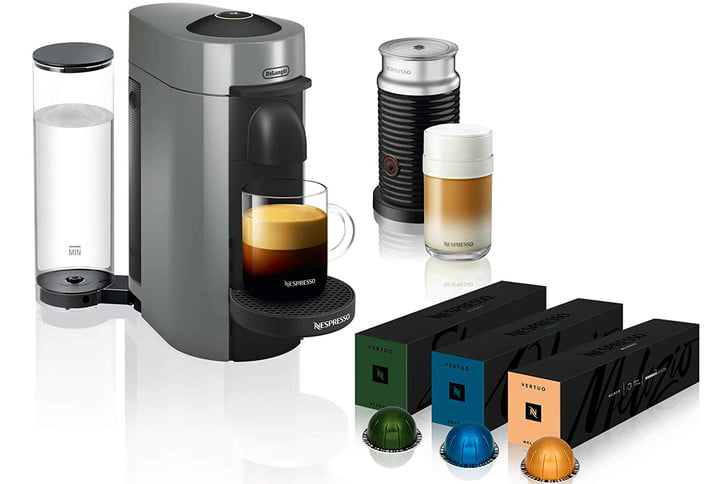 amazon deal of day nespresso coffee and espresso machines with frother vertuoplus maker by de longhi aeroccino grey  vertuoli