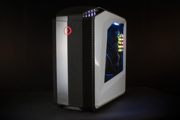 Origin Genesis gaming desktop review front face angle 2