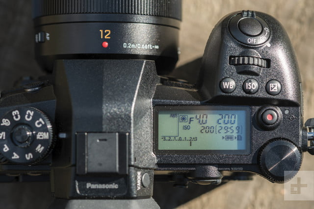 Panasonic Lumix G9 Review | Detail shot of the top of the camera showing the shutter count display with various other info