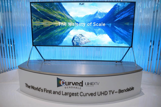 samsungs massive bending 4k tv flexes flat curved right front face samsung 14