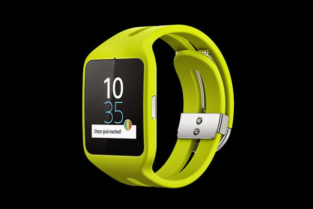 Sony Smartwatch 3 front angle yellow