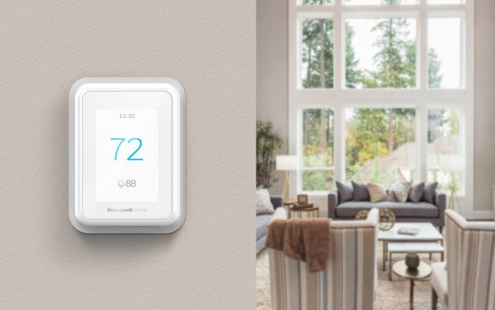 honeywell home resideo new t series thermostats smart sensors ces 2019 tstat on wall in