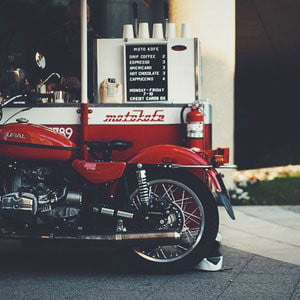 Ural Sidecar Motorcycle Coffee Shop