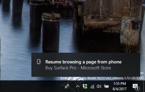 windows 10 continue on pc feature explained notification